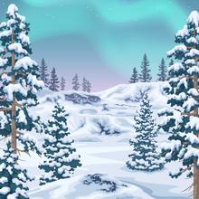 Winter Background  With Aurora Borealis
