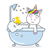 Unicorn Bathing In A Bathtub With His Rubber Duck
