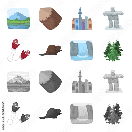 Fotografie, Obraz  Canadian fir, beaver and other symbols of Canada