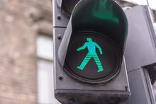Green Light For Pedestrian On Semaphore In The City