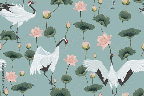 wzor-z-japonskimi-zurawiami-i-lotosami