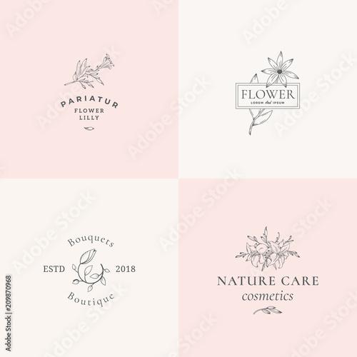Stampa su Tela Abstract Floral Vector Signs or Logo Templates Set