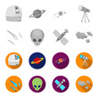 Asteroid, car, meteorite, space ship, station with solar batteries, the face of an alien. Space set collection icons in monochrome,flat style vector symbol stock illustration web.