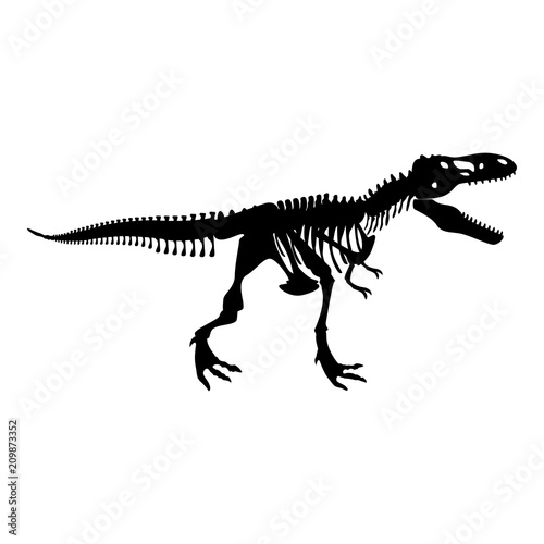 Photo  Dinosaur skeleton T rex icon black color illustration flat style simple image
