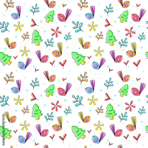 Poster Vogels, bijen Cute floral seamless pattern with birds and flowers. vector illustration.
