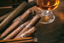 Cuban Cigars Closeup On Wooden...