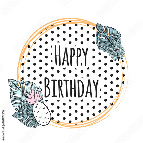 Spoed Foto op Canvas Retro sign cute birthday card