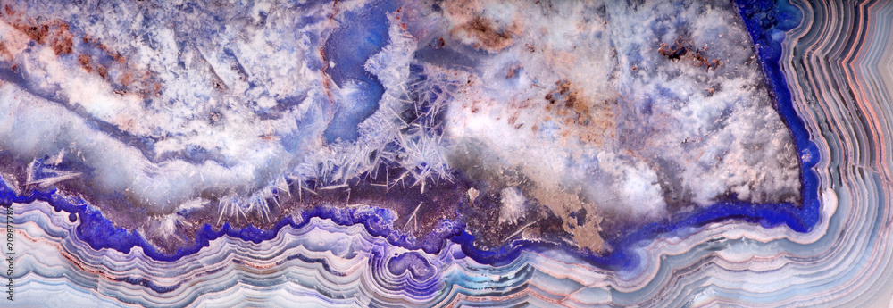 Fototapety, obrazy: grey and blue color agate stripe