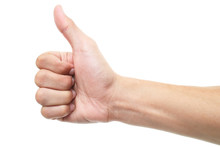 Hand Thumb Up Isolated On White Background