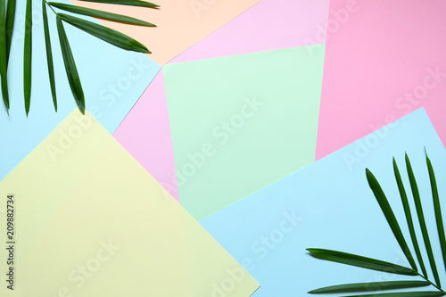Creative minimal summer idea. Green leaf branches. Palm leaves on pastel colors. Tropical exotic background with empty space for text. Concept creative art. Flat lay, top view.