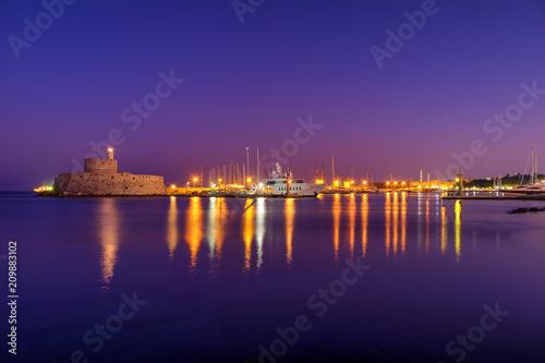 Foto op Aluminium Snoeien Windmills at Mandraki Harbour