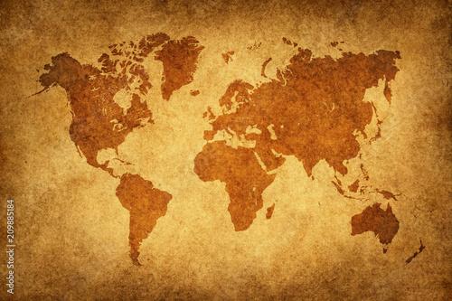 Mapa świata papieru Vintage