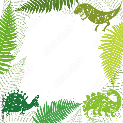 Photo  Background with cartoon dinosaurs, ferns and place for text