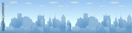 City skyline vector illustration. Urban Panorama, daytime cityscape in flat style