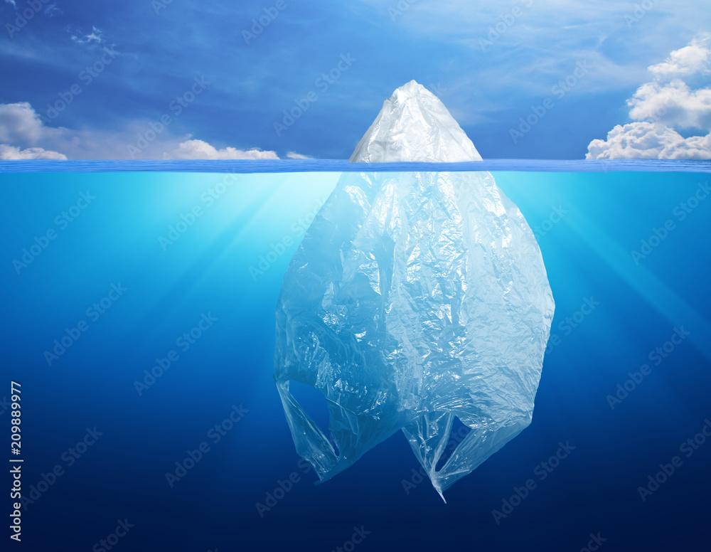 Fototapeta plastic bag environment pollution with iceberg