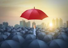 Businessman With Red Umbrella ...