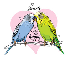 Two Beautiful Little Green And Blue Wavy Parrots Kiss On A Pink Background. Vector Illustration.