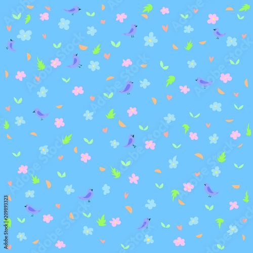 Fototapeta Little birds on a blue flower field background picture obraz na płótnie