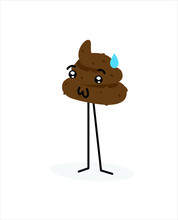 Illustration Of A Piece Of Turd. Vector Illustration. Image Is Isolated On White Background. Emotion Shit. Brand For The Company. Symbol, Emblem. Mascot. Brown Cute Character.