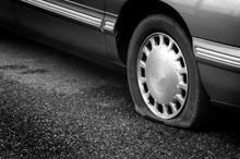 Flat Tire On Road Danger Dange...