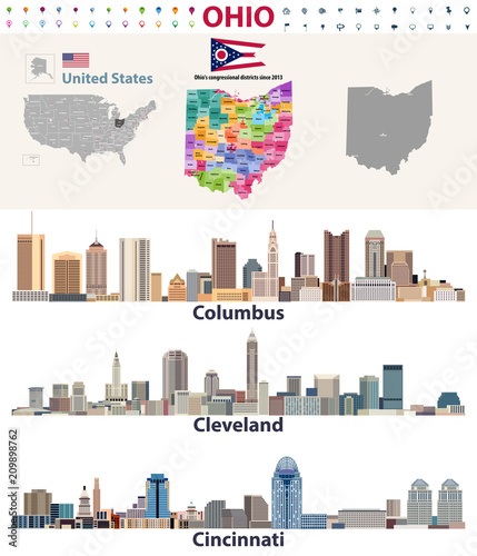 vector map and major cities of Ohio state – kaufen Sie diese ...