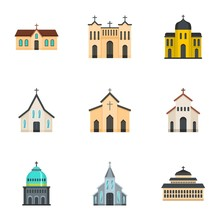Church Icons Set. Cartoon Set ...