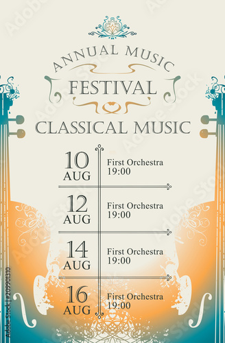 Vector poster for the annual festival of classical music in vintage style on abs Fotobehang