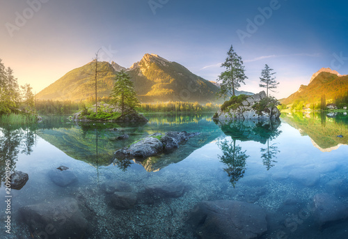 Photo Stands Lake View of Hintersee lake in Bavarian Alps, Germany