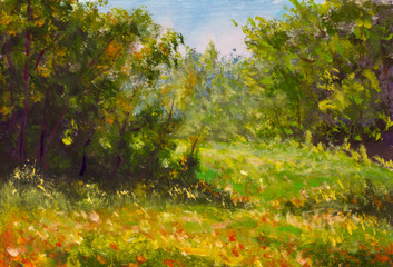 Fototapeta Original oil painting Spring forest. Green trees, blue sky, red flowers on ground. Beautiful landscape. Modern impressionism painting art.