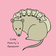 Cartoon Cute Family Opossum Ve...