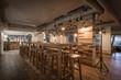 Bar restaurant in hotel lobby in wood