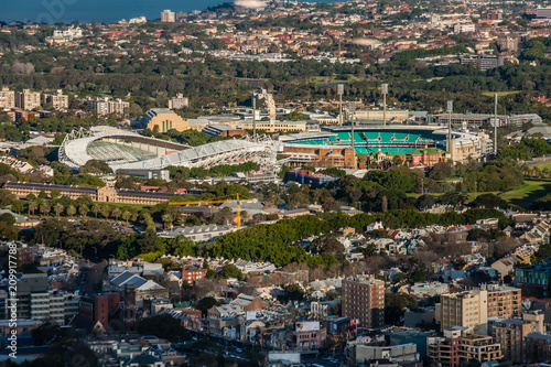 Staande foto Sydney An aerial view of Sydney with the Olympic Stadium
