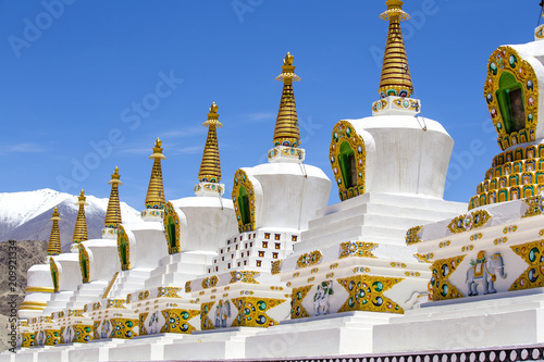 Foto op Canvas Asia land Beautiful buddhist stupa with the cliff and blue sky at Thiksey Monastery in Ladakh, India.