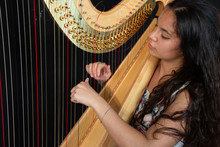 Close-up Of A Beautiful Girl With Long Brown Hair Playing The Harp. Detail Of A Woman Playing The Harp
