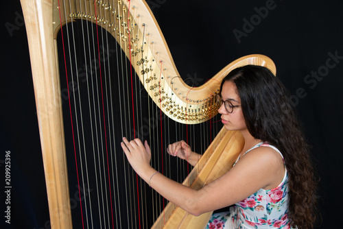 Stampa su Tela Close-up of a beautiful girl with long brown hair playing the harp