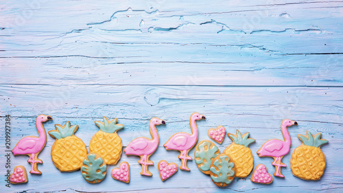 Flamingo ananas cookies Canvas-taulu
