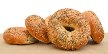Closeup Of A Group Of  Bagels ...