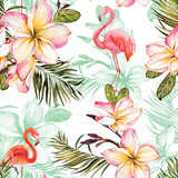 Beautiful flamingo and pink plumeria flowers on white background. Exotic tropical seamless pattern. Watecolor painting. Hand painted illustration. - 209929513