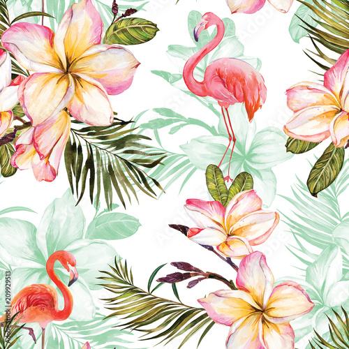 Piękny flaming i różowy plumeria kwitnie na białym tle. Egzotyczny tropikalny bezszwowy wzór. Malarstwo Watecolor. Ręcznie malowane ilustracja.