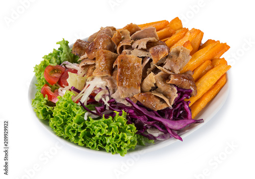 Turkish Doner Kebab plate on white background.