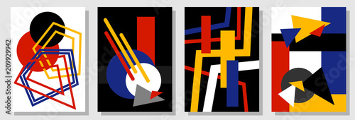 Fotografie, Obraz  Set of abstract covers inspired by Bauhaus art.