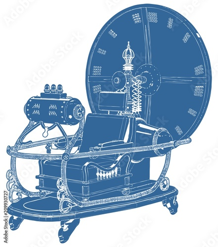 Fotografia Time Machine Isolated On White Background Vector