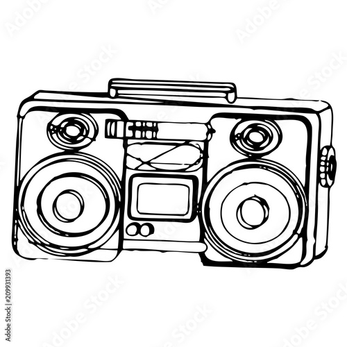 Sketch of a black and white ghetto blaster isolated on a white background Canvas Print