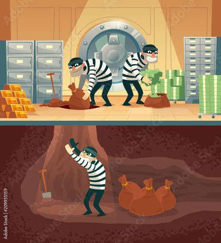 Cuadros en Lienzo Vector cartoon illustration of bank robbery in safety vault