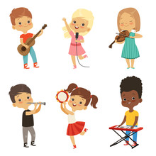 Different Kids Singing. Musici...