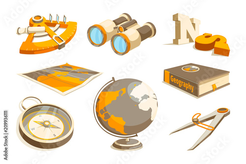 Vector monochrome symbols of exploration and geography Wallpaper Mural