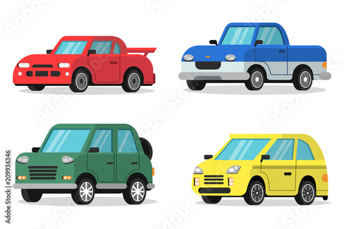 Garden Poster Cartoon cars Flat illustrations of cars in orthogonal projection