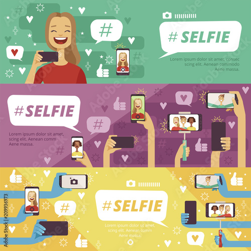 Horizontal banners with people which making selfie photos on his smartphones and photo cameras Wall mural