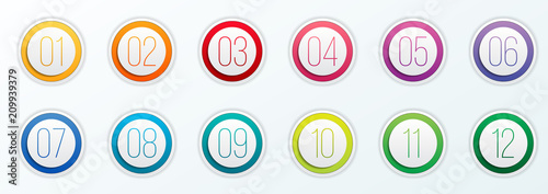 Fotografering Creative vector illustration of number bullet points set 1 to 12 isolated on transparent background