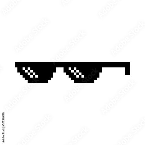 Fotografie, Obraz Creative vector illustration of pixel glasses of thug life meme isolated on transparent background